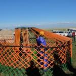 Assembling a yurt frame
