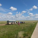 By bus across Mongolian grassland