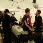 In the warm cook tent